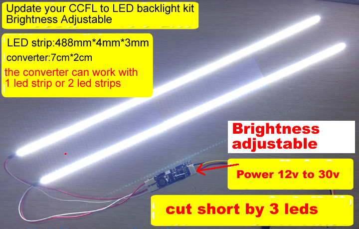 488mm 22inch LED Backlight KIT adjustable brightness update ccfl to led